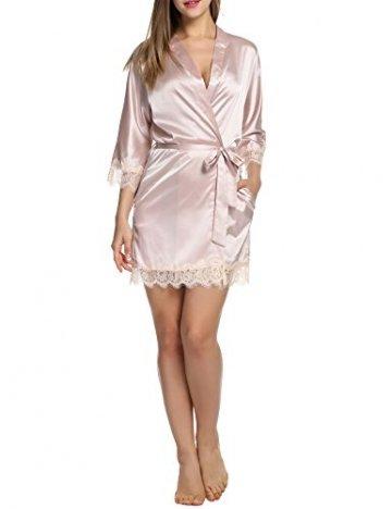 BeautyUU Damen Morgenmantel Kimono Bademantel Satin Nachthemd Nachtwäsche Schlafanzüge Mit Blumenspitze, Champagner, M - 3