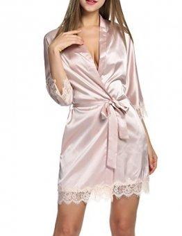 BeautyUU Damen Morgenmantel Kimono Bademantel Satin Nachthemd Nachtwäsche Schlafanzüge Mit Blumenspitze, Champagner, M - 1