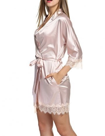 BeautyUU Damen Morgenmantel Kimono Bademantel Satin Nachthemd Nachtwäsche Schlafanzüge Mit Blumenspitze, Champagner, M - 4
