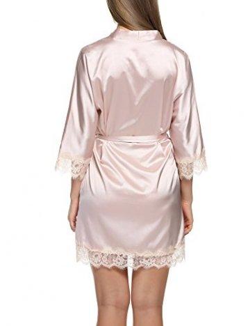 BeautyUU Damen Morgenmantel Kimono Bademantel Satin Nachthemd Nachtwäsche Schlafanzüge Mit Blumenspitze, Champagner, M - 5