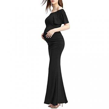Bequeme Mutterschaft langes Kleid Elegante Schwangere Kleid von den Schultern Rüschen Foto-Shooting Requisiten Maxi-Kleider Bequem Und Elegant (Farbe : Schwarz, Größe : S) - 2