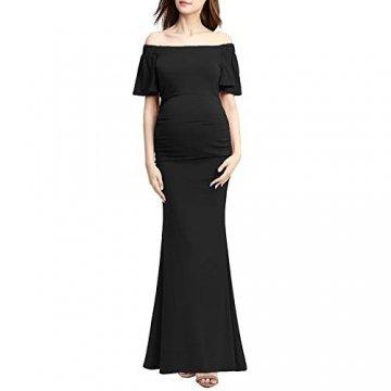Bequeme Mutterschaft langes Kleid Elegante Schwangere Kleid von den Schultern Rüschen Foto-Shooting Requisiten Maxi-Kleider Bequem Und Elegant (Farbe : Schwarz, Größe : S) - 3