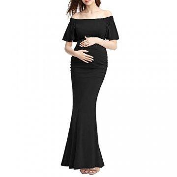 Bequeme Mutterschaft langes Kleid Elegante Schwangere Kleid von den Schultern Rüschen Foto-Shooting Requisiten Maxi-Kleider Bequem Und Elegant (Farbe : Schwarz, Größe : S) - 1