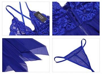 BESDEL Frauen Sexy Dessous Blumenspitze V-Ausschnitt Neckholder Chemise Vorne Offen Sexy Sheer Babydoll Blau M - 3