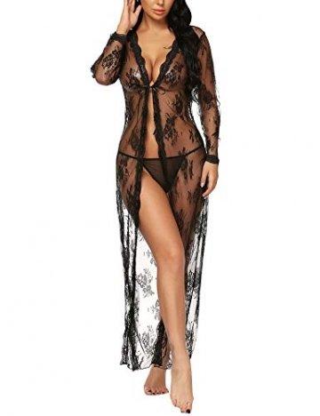 BESDEL Frauen Sexy Dessous Robe Durchsichtig Nachtwäsche Langes Spitzenkleid Kimono Cardigan Schwarz L - 4