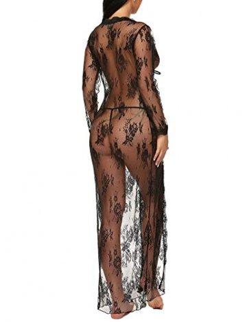 BESDEL Frauen Sexy Dessous Robe Durchsichtig Nachtwäsche Langes Spitzenkleid Kimono Cardigan Schwarz L - 5