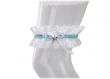 BrautChic Elastisches Brautstrumpfband - Must Have zur Hochzeit - Mit funkelnden Kristallen in Schmetterlingsform - Brautkleid Brautaccessoires - WEIß/BLAU - 3