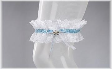 BrautChic Elastisches Brautstrumpfband - Must Have zur Hochzeit - Mit funkelnden Kristallen in Schmetterlingsform - Brautkleid Brautaccessoires - WEIß/BLAU - 4