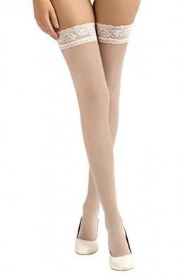 BrautChic® Halterlose Brautstrümpfe mit Spitze- Elegante Stay Up Strümpfe speziell für die Hochzeit- Luxuriös Transparent, Elastische Spitze 8cm - pH-neutraler Silikonstreifen- HAUT/Ivory Spitze- Gr.L - 1