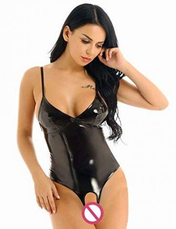 CHICTRY Damen Wetlook Leder Bodysuit Brust Harness PU Leder Halsband mit Kette Erotik String Body Unterwäsche Gogo (Large, Schwarz Ouvert) - 2