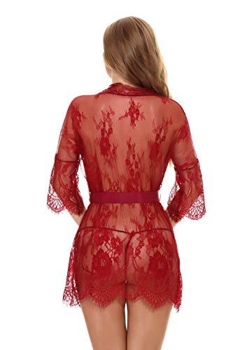 Damen Gaze Kimono Spitze Kurz Morgenmantel mit G-String Nachtmantel Reizwäsche Negligee Nachtwäsche Dessous Rot L - 6