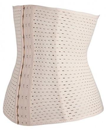 Damen Korsett Corsage Waist-Trainer Cincher mit 3 Stahlstäbchen Dessous Lingerie Unterbrustkorsett Korsage Bauchweggürtel Shapewear (skin, XL) - 2