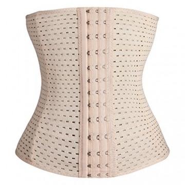 Damen Korsett Corsage Waist-Trainer Cincher mit 3 Stahlstäbchen Dessous Lingerie Unterbrustkorsett Korsage Bauchweggürtel Shapewear (skin, XL) - 1
