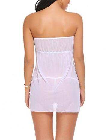 Damen Negligee - Trägerlos Bandeau Babydoll Split Front Nachtwäsche Mini Nachtkleid Transparent Nachthemd Reizwäsche Lingerie Kleider, Sexy Spitzen Dessous, A-weiß, S - 2