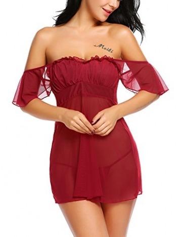 Damen Sexy Spitze Negligee Reizwäsche Babydoll Nachtwäsche Transparent Rückenfrei Lingerie Kleid Nachtkleid Nachthemd Dessous Set Sleepwear - 4