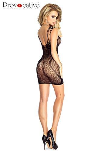 Damen Transparent Negligee Dessous Nacht Wäsche Babydoll Sleepwear schwarzes Netz-Kleid PR4702 von Provocative - 2