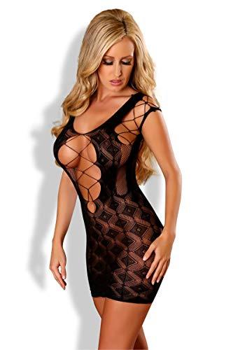 Damen Transparent Negligee Dessous Nacht Wäsche Babydoll Sleepwear schwarzes Netz-Kleid PR4564 von Provocative - 1