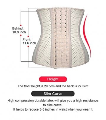 DeepTwist Damen Korsett Latex Training Sport Corsage Breathable Corset Waist Shaper,UK-SZ11533-Skin-3XL - 3