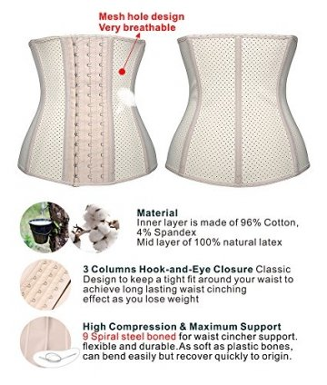DeepTwist Damen Korsett Latex Training Sport Corsage Breathable Corset Waist Shaper,UK-SZ11533-Skin-3XL - 4
