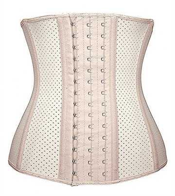 DeepTwist Damen Korsett Latex Training Sport Corsage Breathable Corset Waist Shaper,UK-SZ11533-Skin-3XL - 1
