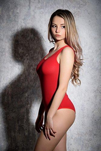 Evoni Damenbody Größen | Damen Overall Bodysuit mit Rundhals | breite Träger | Verschluß-Haken | Unterzieh-Body mit optimaler Passform | sportlicher Damen-Body, Rot, M - 3