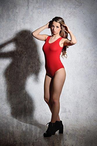 Evoni Damenbody Größen | Damen Overall Bodysuit mit Rundhals | breite Träger | Verschluß-Haken | Unterzieh-Body mit optimaler Passform | sportlicher Damen-Body, Rot, M - 4
