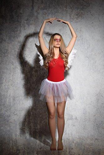 Evoni Damenbody Größen | Damen Overall Bodysuit mit Rundhals | breite Träger | Verschluß-Haken | Unterzieh-Body mit optimaler Passform | sportlicher Damen-Body, Rot, M - 6
