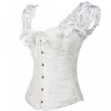 EZSTAX Spitze Korsett Bauchweg Vintage Korsage Überbrust Damen Taillenformer Shaperwear Push UP,X-Weiß,M - 2