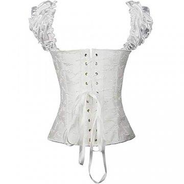 EZSTAX Spitze Korsett Bauchweg Vintage Korsage Überbrust Damen Taillenformer Shaperwear Push UP,X-Weiß,M - 3
