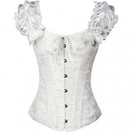 EZSTAX Spitze Korsett Bauchweg Vintage Korsage Überbrust Damen Taillenformer Shaperwear Push UP,X-Weiß,M - 1