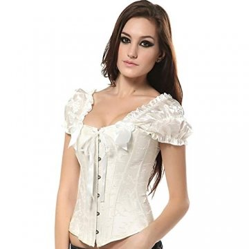 EZSTAX Spitze Korsett Bauchweg Vintage Korsage Überbrust Damen Taillenformer Shaperwear Push UP,X-Weiß,M - 5