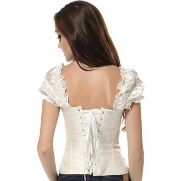 EZSTAX Spitze Korsett Bauchweg Vintage Korsage Überbrust Damen Taillenformer Shaperwear Push UP,X-Weiß,M - 6