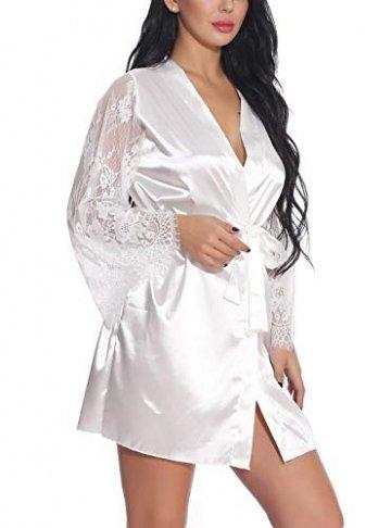 FEOYA Damen Sexy Nachtkleid Spitze Dessous Set Transparente Robe Satin Kimono mit Gürtel und G-String Weiß L - 2
