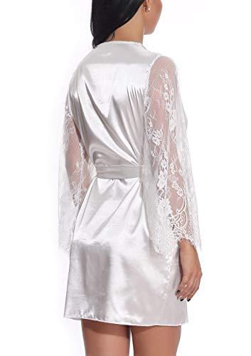 FEOYA Damen Sexy Nachtkleid Spitze Dessous Set Transparente Robe Satin Kimono mit Gürtel und G-String Weiß L - 3