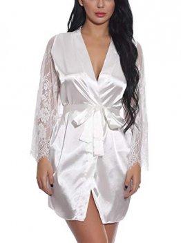 FEOYA Damen Sexy Nachtkleid Spitze Dessous Set Transparente Robe Satin Kimono mit Gürtel und G-String Weiß L - 1