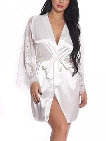 FEOYA Damen Sexy Nachtkleid Spitze Dessous Set Transparente Robe Satin Kimono mit Gürtel und G-String Weiß L - 4