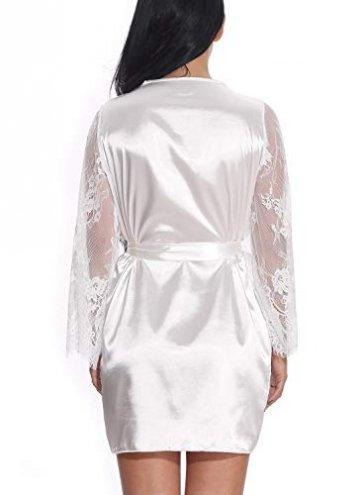 FEOYA Damen Sexy Nachtkleid Spitze Dessous Set Transparente Robe Satin Kimono mit Gürtel und G-String Weiß L - 5