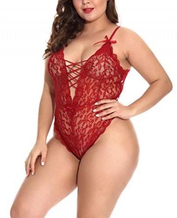FEOYA Große Größen Damen Rückenfrei Bodysuit Spitze Bodys Sexy Dessous Negligee Unterwäsche Babydoll Lingerie Erotic Nachtwäsche Dunkelrot XL - 4