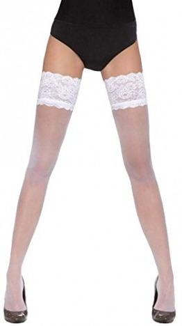 Firstclass Trendstore wunderschöne halterlose Strümpfe in versch. Styles und Farben Gr. S M L * Strapse Overknees Dessous Hochzeit elegant (Kama weiß S) - 1