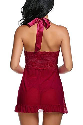 Frauen-Nachtwäsche-reizvolleSpitze-Wäsche-Teddybär-Babydoll-Bügel-Chemise Halter-Minibodysuit-Unterwäsche (XL, rot) - 3