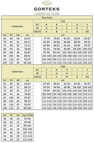 Gorteks Scarlet/B3 Halbversteifter BH, Geblümt, Spitze, Regulierbare Träger, Seitenstäbchen, Versteifte Cups, Setteil,Top Qualität,, schwarz-beige,75G - 6