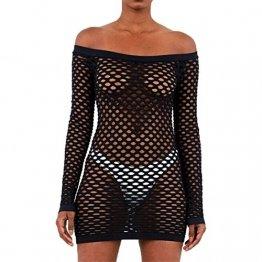 GWELL Damen Sexy Netzkleid Off Schulter Mesh Dessous Mini Kleid Clubkleid Negligee Nachtwäsche Reizwäsche Schwarz L - 1