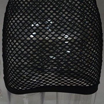 GWELL Damen Sexy Netzkleid Off Schulter Mesh Dessous Mini Kleid Clubkleid Negligee Nachtwäsche Reizwäsche Schwarz L - 5