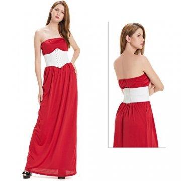 HANERDUN Damen elastischen Retro Gürtel Korsett mit Klettverschluss Taille Hüftgurt Vier Größen, Weiß, M - 2