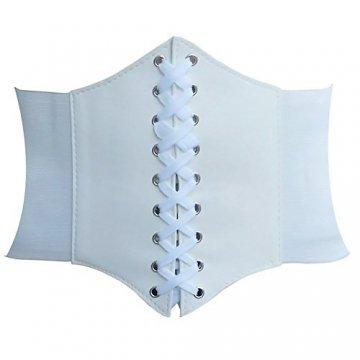 HANERDUN Damen elastischen Retro Gürtel Korsett mit Klettverschluss Taille Hüftgurt Vier Größen, Weiß, M - 1
