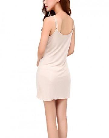 Hoerev Frauen reine natürliche Maulbeereseide Sleepwear voller Slip Chemise - 3