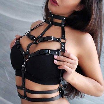 HOMELEX Damen Punk Leder Harness Body Brustgurte Taille Cupless Lingerie Einstellbar (LBZ01) - 2