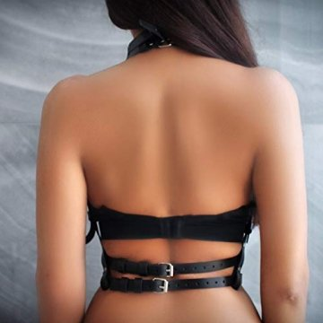 HOMELEX Damen Punk Leder Harness Body Brustgurte Taille Cupless Lingerie Einstellbar (LBZ01) - 3