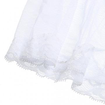 Housweety Dessous Reizwaesche Lingerie V-Ausschnitt Babydoll Lang Nachtkleid S-M Weiss - 6