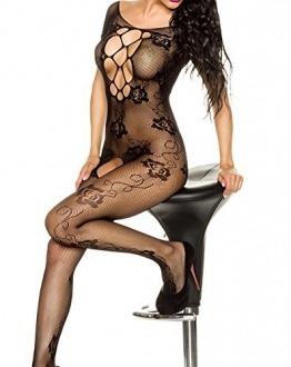 ILAVO® Bodystocking ouvert mit floralem Muster Damen Dessous Nachtwäsche Erotikwäsche Reizwäsche sexy Unterwäsche - 1